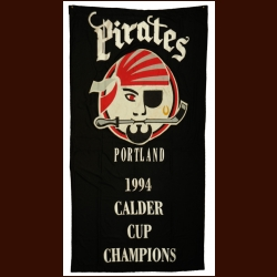 1993-94 Portland Pirates Championship Banner - The W. Godfrey Wood Collection - W. Godfrey Letter