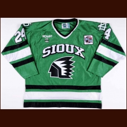 "2000-01 Chris Leinweber University of North Dakota Game Worn Jersey – ""Frozen Four"" - Last Year of the Geometric Logo"