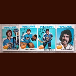 1975-76 Autographed Pittsburgh Penguins Card Group of 4