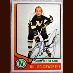 1974-75 OPC Bill Goldsworthy - Autographed