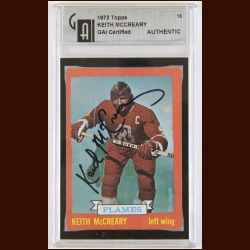 1973-74 Keith McCreary Atlanta Flame Autographed Card – Deceased – GAI Certified