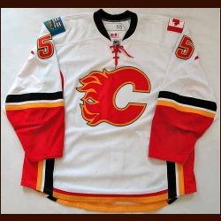 2008-09 Adam Pardy Calgary Flames Game Worn Jersey - Rookie - 1st NHL Game - Team Letter