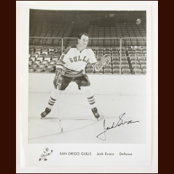 Jack Evans San Diego Gulls Autographed 8x10 B&W Photo – Deceased