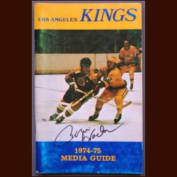 1973-74 Los Angeles Kings Team Signed Media Guide/Fact Book - Signed by 26 including Jake Milford, Whitey Widing, Real Lemieux and Gilles Marotte - Each Deceased