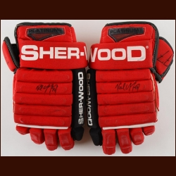 Paul Coffey Carolina Hurricanes Red Sher-Wood Game Worn Gloves – Autographed