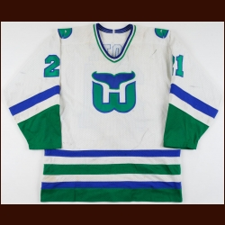 1984-85 Sylvain Cote Hartford Whalers Game Worn Jersey – Rookie - Photo Match