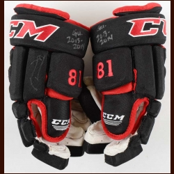 Marian Hossa Chicago Blackhawks Black CCM Game Worn Gloves - Used in 2013-14 - Autographed – Team Letter