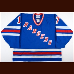 1995-96 Jari Kurri New York Rangers Game Worn Jersey - Photo Match