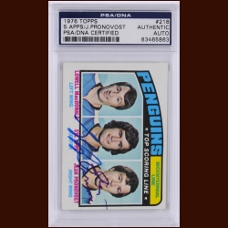 Pittsburgh Penguins – Bicentennial Line – 1976 Topps – Syl Apps & Jean Pronovost – Autographed – PSA/DNA