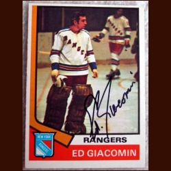 1974-75 OPC Ed Giacomin New York Rangers - Autographed
