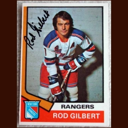 1974-75 OPC Rod Gilbert Autographed Card