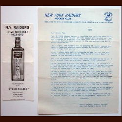 1972-73 WHA New York Raiders Introductory Ticket Plan Advertising Brochure And Schedule