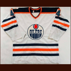 "1979-80 Kevin Lowe Edmonton Oilers Game Worn Jersey - Rookie - ""Edmonton 75-year Anniversary"" - Video Match - Team Letter"