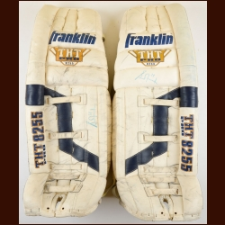 Grant Fuhr St. Louis Blues White Franklin Game Worn Pads – Autographed - Photo Match