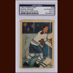 "Richard ""Dickie"" Moore 1953 Parkhurst – Montreal Canadiens – Autographed – Deceased – PSA/DNA"