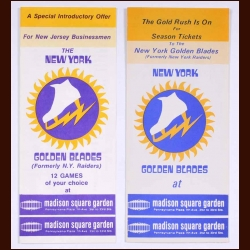 1973-74 WHA New York Golden Blades Introductory Ticket Plan Advertising Brochure lot of 2