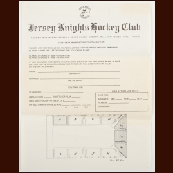 1973-74 WHA Jersey Knights Season Ticket Application