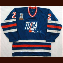 2003-04 Mark McCoy Tulsa Oilers Game Worn Jersey - 1993 Bill Levins Champions Trophy patch
