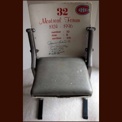 Montreal Forum Single Seat - Autographed by 5 Canadien Hall of Famers Including Maurice Richard