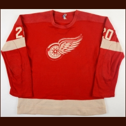 Late 1950's/Early 1960's Len Lunde Detroit Red Wings Game Worn Wool Jersey - Photo Match