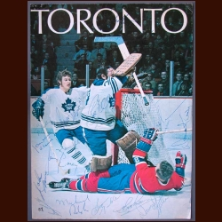 1970-71 Toronto Maple Leafs Team Signed Program Cover - 21 Signatures Including Jacques Plante - Deceased