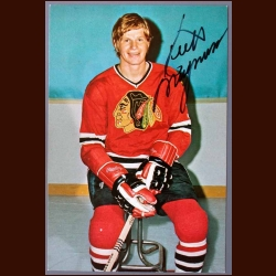 1973-74 Keith Magnuson Black Hawks Autographed Color Postcard - Deceased