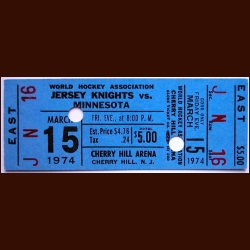 1973-74 WHA New Jersey Knights Full Ticket