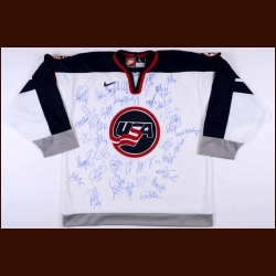 Team USA Autographed Replica Jersey - 37 Signatures including Hull, Modano, Roenick, Leetch and Chelios
