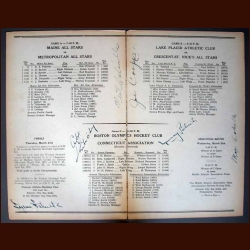 1935 National A.A.U. Ice Hockey Championships Madison Square Garden Hockey Program - Autographed by 6 Rangers - 2 Hall of Famers - All Deceased - PSA/DNA Letter