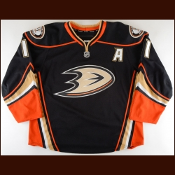 2010-11 Saku Koivu Anaheim Ducks Game Worn Jersey – Alternate - Photo Match – Team Letter