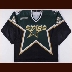 1999-00 Brenden Morrow Dallas Stars Game Worn Jersey - Rookie - Photo Match - Debut Jersey - Team Letter