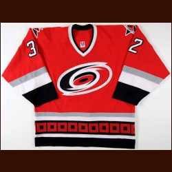 2006-07 Cale Hulse Carolina Hurricanes Pre-Season Game Worn Jersey - Last NHL Jersey - Team Letter