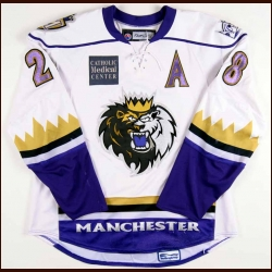 2007-08 Gabe Gauthier Manchester Monarchs Game Worn Jersey - AHL Letter - University of Denver Alum