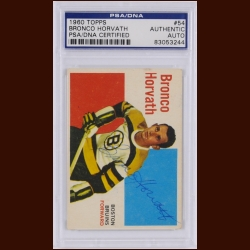 Bronco Horvath 1960 Topps – Boston Bruins – Autographed – PSA/DNA