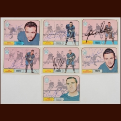 Lot of (7) 1968-69 OPC Toronto Maple Leafs Autographed Cards – Includes Deceased and Hall of Famers