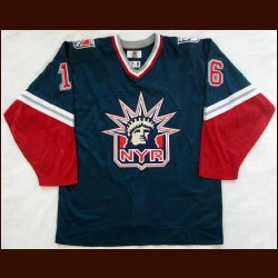 1997-98 Pat LaFontaine New York Rangers Game Worn Jersey - Statue of Liberty - Team Letter