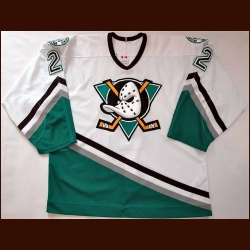2002-03 Fredrik Olausson Anaheim Mighty Ducks Game Worn Jersey - Photo Match - NHL Letter