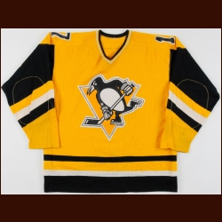 1980-81 Rick Kehoe Pittsburgh Penguins Game Worn Jersey – Inaugural Sunday Gold - Career Best 55-Goal & 88 Point Season - All Star Season - Lady Byng - Photo Match