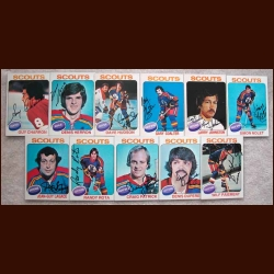 1975-76 Autographed Kansas City Scouts Card Group of 11