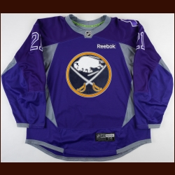 "2014-15 Drew Stafford Buffalo Sabres Warm-Up Jersey – ""Hockey Fights Cancer"""