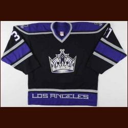2002-03 Jared Aulin Los Angeles Kings Game Worn Jersey - Rookie - Team Letter