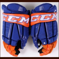 John Tavares New York Islanders Orange & Blue CCM Game Worn Gloves – Autographed