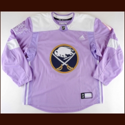 "2017-18 Jacob Josefson Buffalo Sabres Warm-up Jersey – ""Hockey Fights Cancer"""