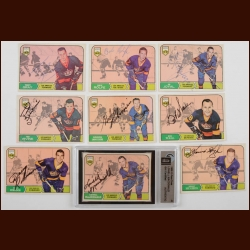 Lot of (9) 1968-69 OPC Los Angeles Kings Autographed Cards