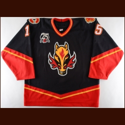"2005-06 Byron Ritchie Calgary Flames Game Worn Jersey – Alternate - ""25-year Anniversary"" - Photo Match"
