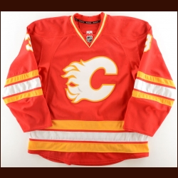 2014-15 David Schlemko Calgary Flames Game Worn Jersey – Retro – Photo Match – Team Letter