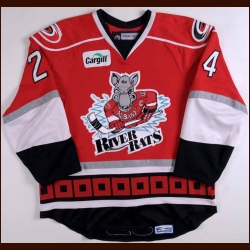 2007-08 Pat Dwyer Albany River Rats Game Worn Jersey - AHL Letter - Western Michigan University Alum