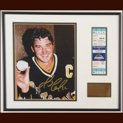 Mario Lemieux Pittsburgh Penguins 500th Goal Autographed Display – Limited Edition #123 of 500 – Includes Full Ticket From the Game – COA Signed by Craig Patrick