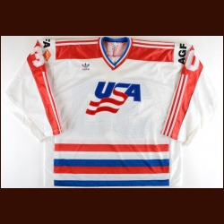 1986 Tom Barrasso Team USA World Championships Game Worn Jersey