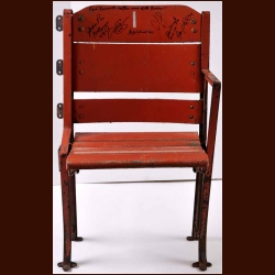 Boston Garden Orange Single Seat – Autographed by 6 including 3 Hall of Famers